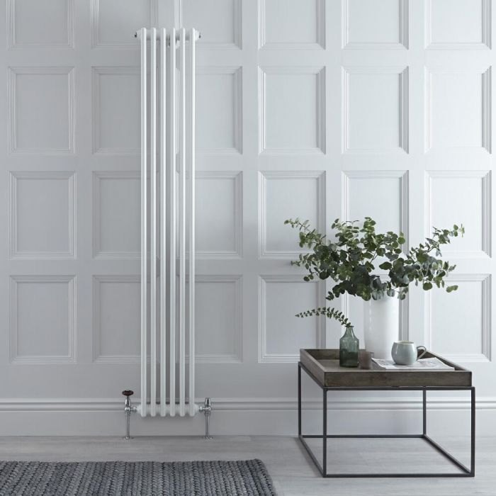 Milano Windsor - Vertical Triple Column White Traditional Cast Iron Style Radiator - 1800mm x 290mm