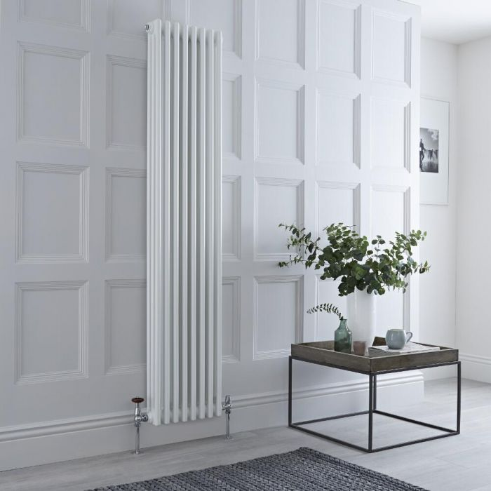 Milano Windsor - Vertical Triple Column White Traditional Cast Iron Style Radiator - 1800mm x 380mm