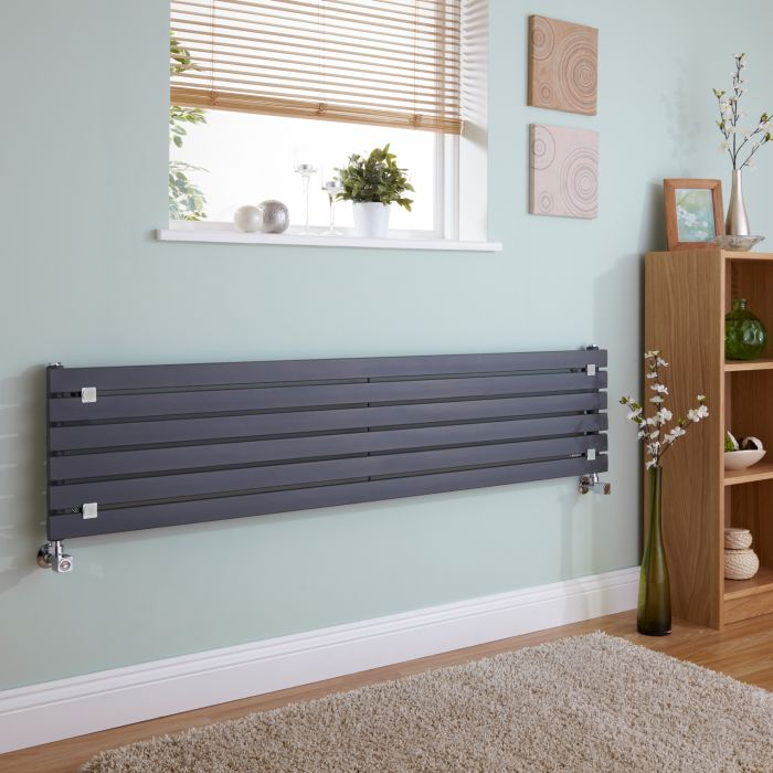 Milano Capri - Anthracite Horizontal Flat Panel Designer Radiator 354mm x 1600mm