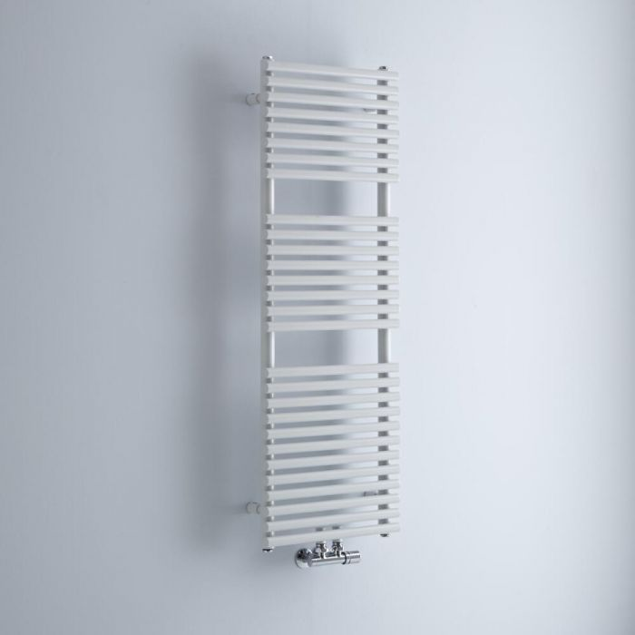 Milano Via - White Bar on Bar Central Connection Heated Towel Rail 1216mm x 400mm