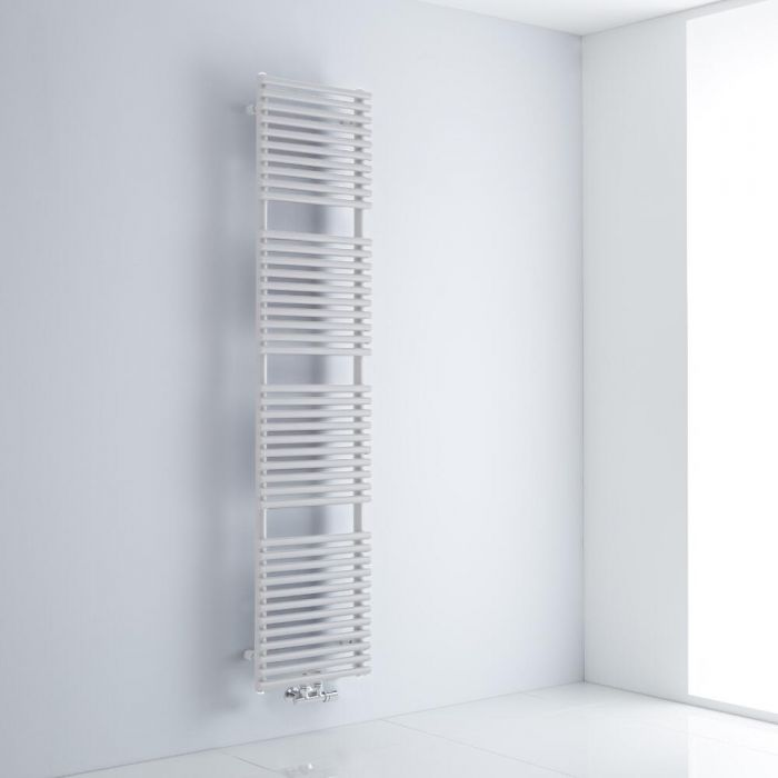 Milano Via - White Bar on Bar Central Connection Heated Towel Rail 1823mm x 400mm