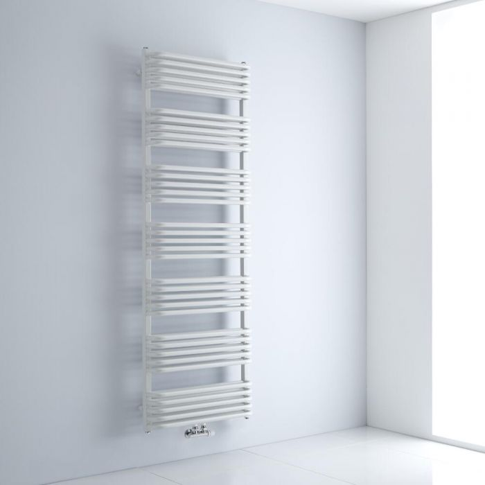 Milano Bow - White D Bar Central Connection Heated Towel Rail 1800mm x 600mm