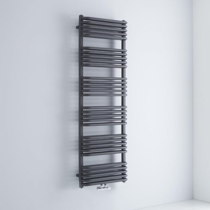 Milano Bow - Anthracite D Bar Central Connection Heated Towel Rail 1533mm x 500mm