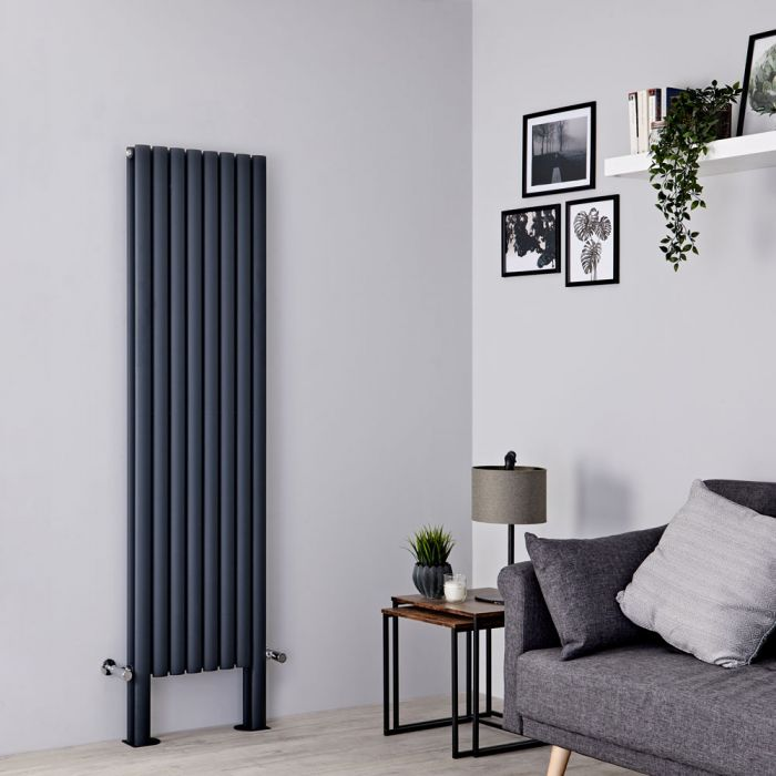Milano Aruba Plus - Anthracite Vertical Designer Radiator with Feet 1800mm x 472mm (Double Panel)