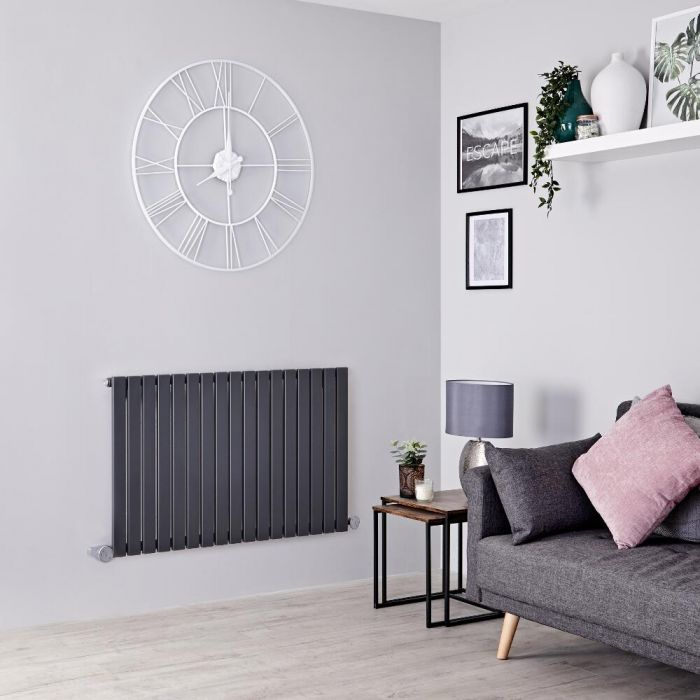 Milano Capri Electric - Anthracite Horizontal Flat Panel Designer Radiator 635mm x 1000mm