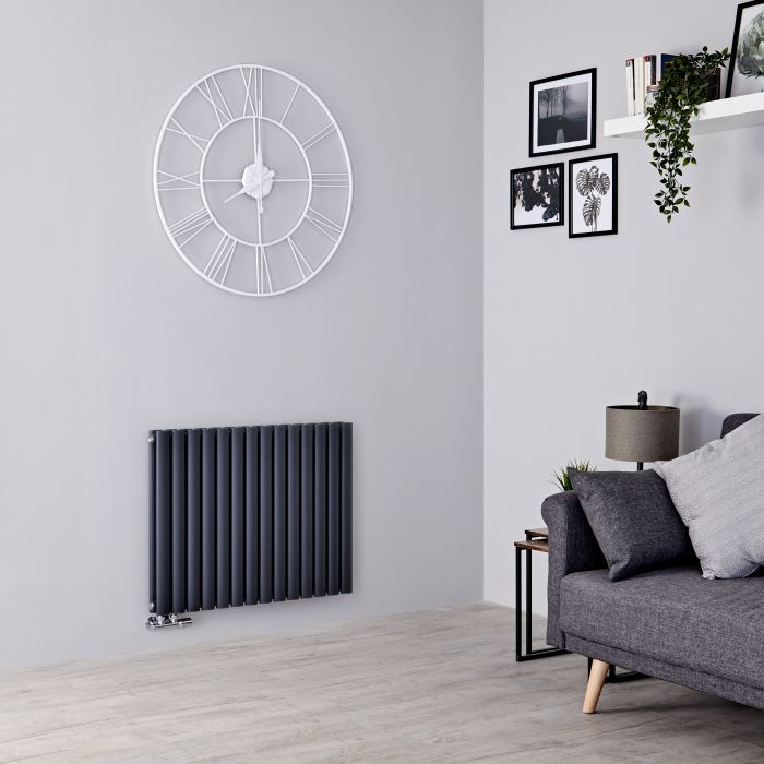 Milano Aruba Flow - Anthracite Horizontal Double Panel Middle Connection Designer Radiator 635mm x 834mm