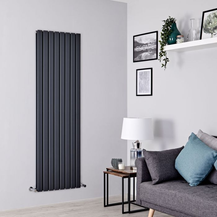 Milano Alpha - Anthracite Vertical Double Slim Panel Designer Radiator 1600mm x 560mm