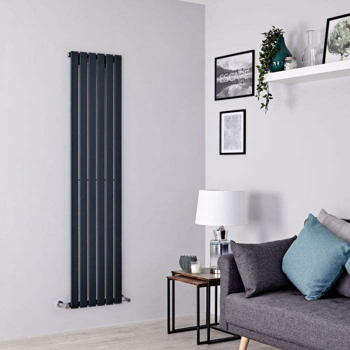 Milano Alpha - Anthracite Vertical Single Slim Panel Designer Radiator 1600mm x 420mm