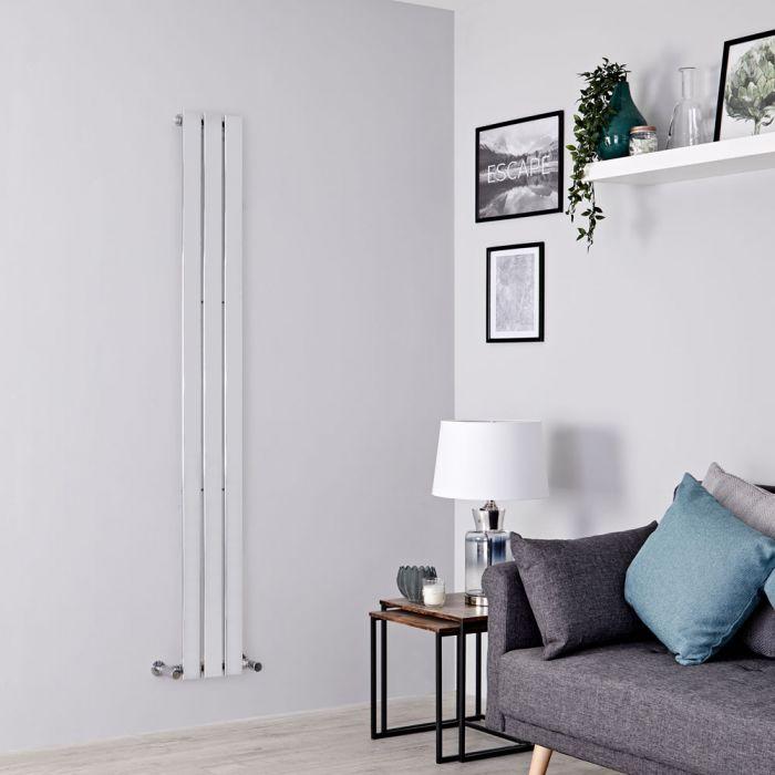 Milano Alpha - Chrome Vertical Slim Panel Designer Radiator 1600mm x 225mm