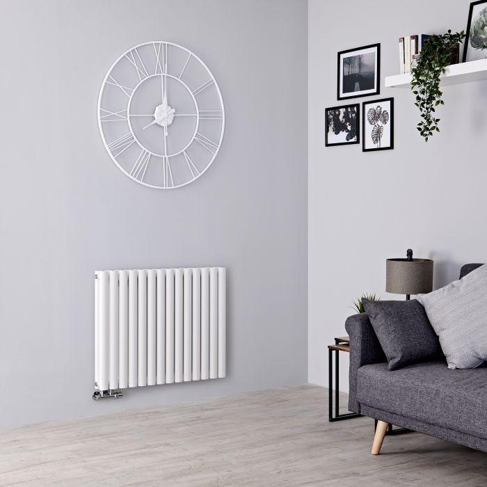 Milano Aruba Flow - White Horizontal Double Panel Middle Connection Designer Radiator 635mm x 834mm