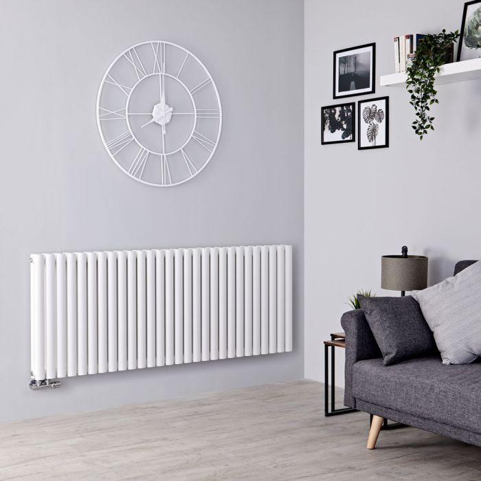 Milano Aruba Flow - White Horizontal Double Panel Middle Connection Designer Radiator 635mm x 1647mm