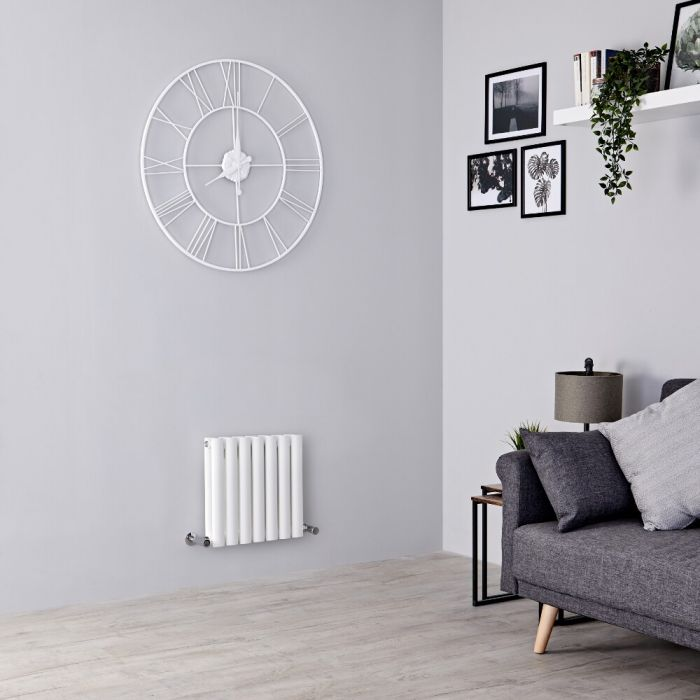 Milano Aruba - White Horizontal Designer Radiator 400mm x 415mm (Double Panel)