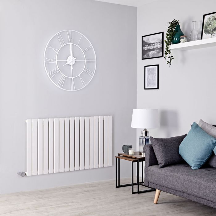 Milano Alpha Electric - White Horizontal Single Slim Panel Designer Radiator 635mm x 1190mm