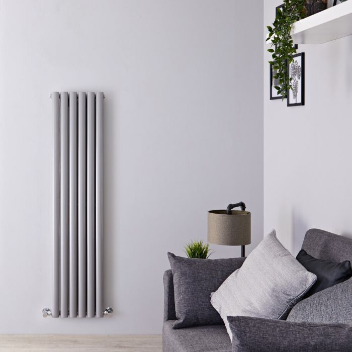 Milano Aruba - Silver Vertical Designer Radiator 1500mm x 354mm (Double Panel)