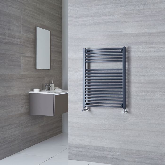 Milano Brook - Anthracite Curved Heated Towel Rail 800mm x 600mm