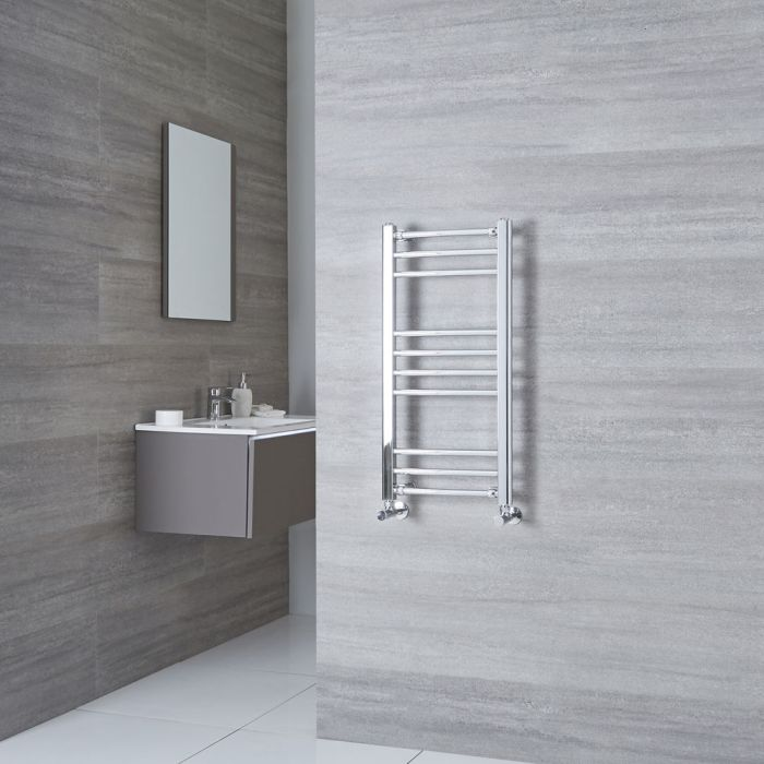 Milano Eco - Curved Chrome Heated Towel Rail 800mm x 400mm