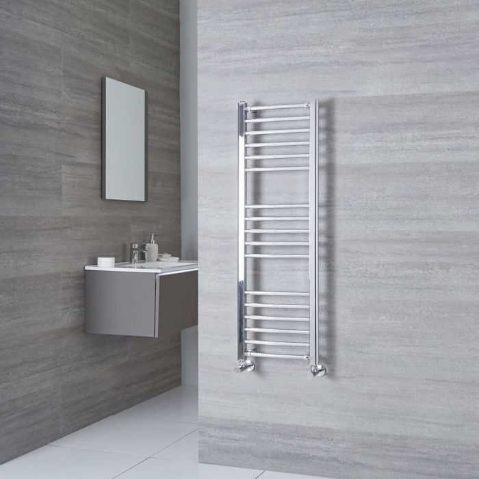 Milano Eco - Curved Chrome Heated Towel Rail 1200mm x 400mm