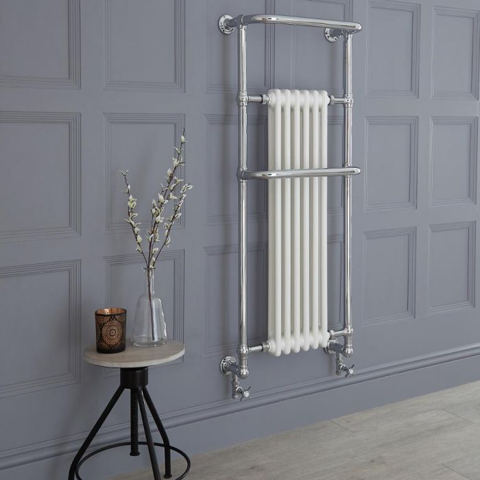 Milano Elizabeth - White Traditional Heated Towel Rail 1365mm x 575mm (With Overhanging Rail)