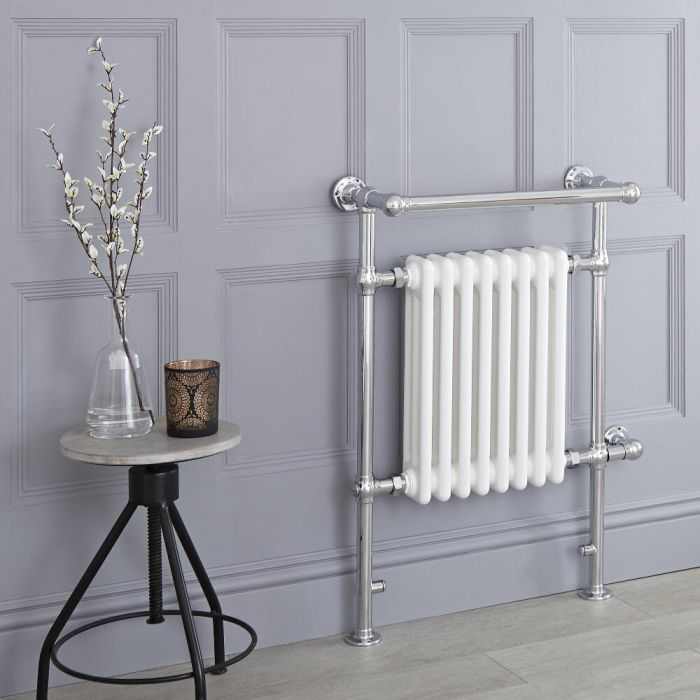 Milano Elizabeth - White Traditional Electric Heated Towel Rail - 930mm x 620mm (Angled Top Rail)
