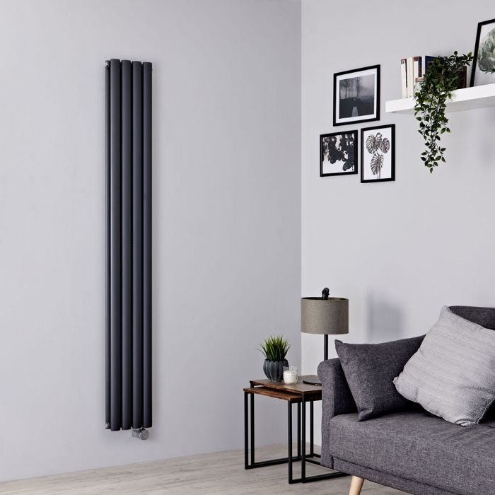 Milano Aruba Slim Electric - Anthracite Space-Saving Vertical Designer Double Radiator 1780mm x 236mm
