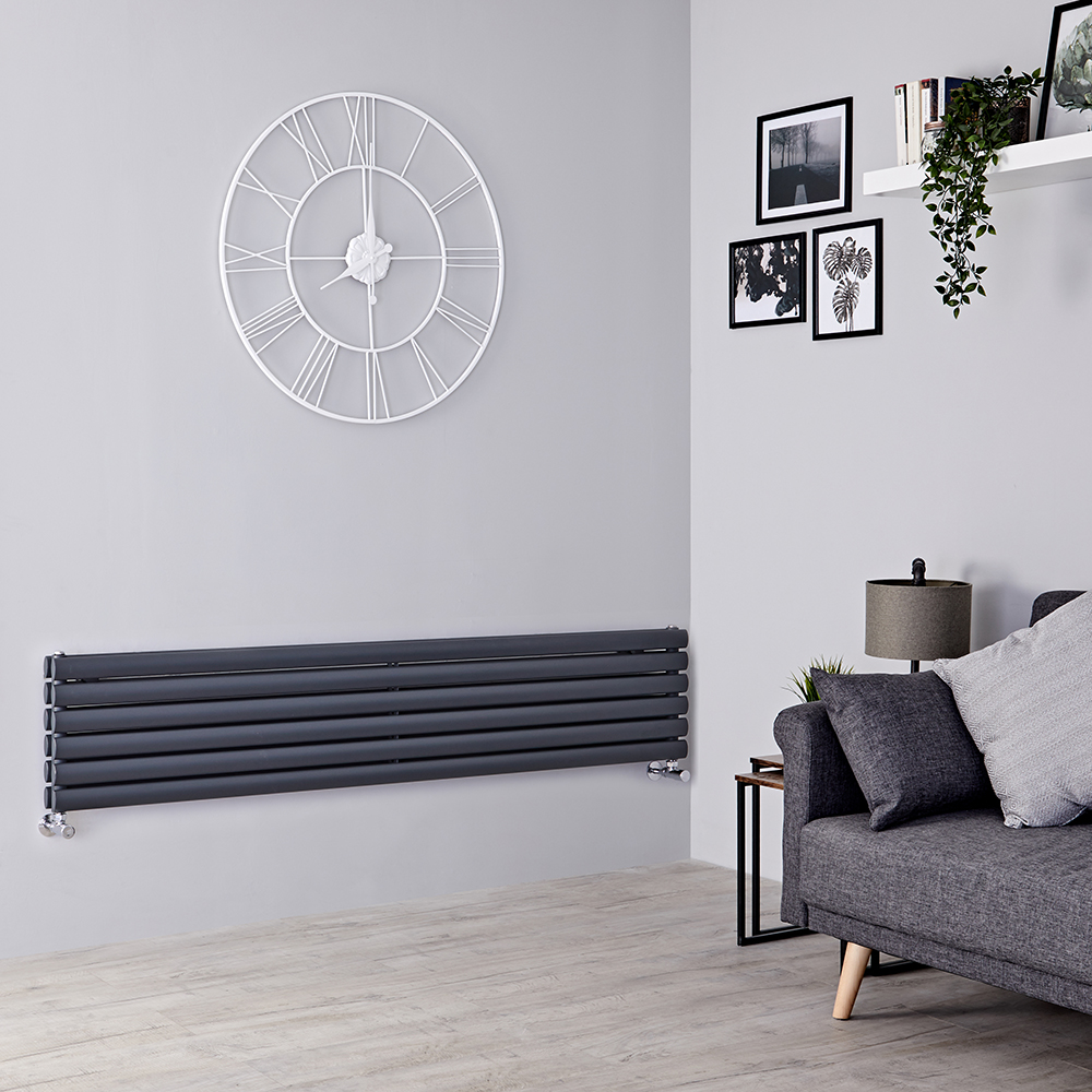 Milano Aruba -  Anthracite Horizontal Designer Radiator 354mm x 1600mm (Double Panel)