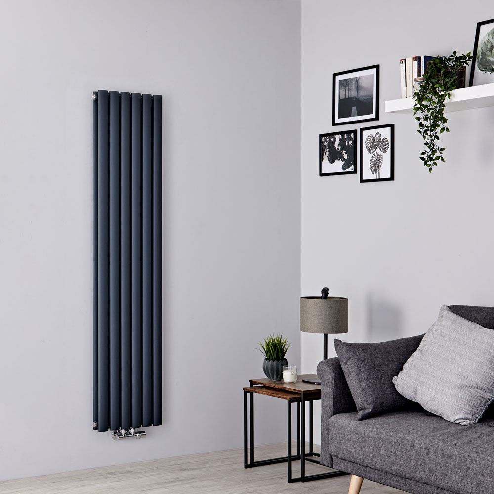 Milano Aruba Flow - Anthracite Vertical Double Panel Middle Connection Designer Radiator 1600mm x 354mm