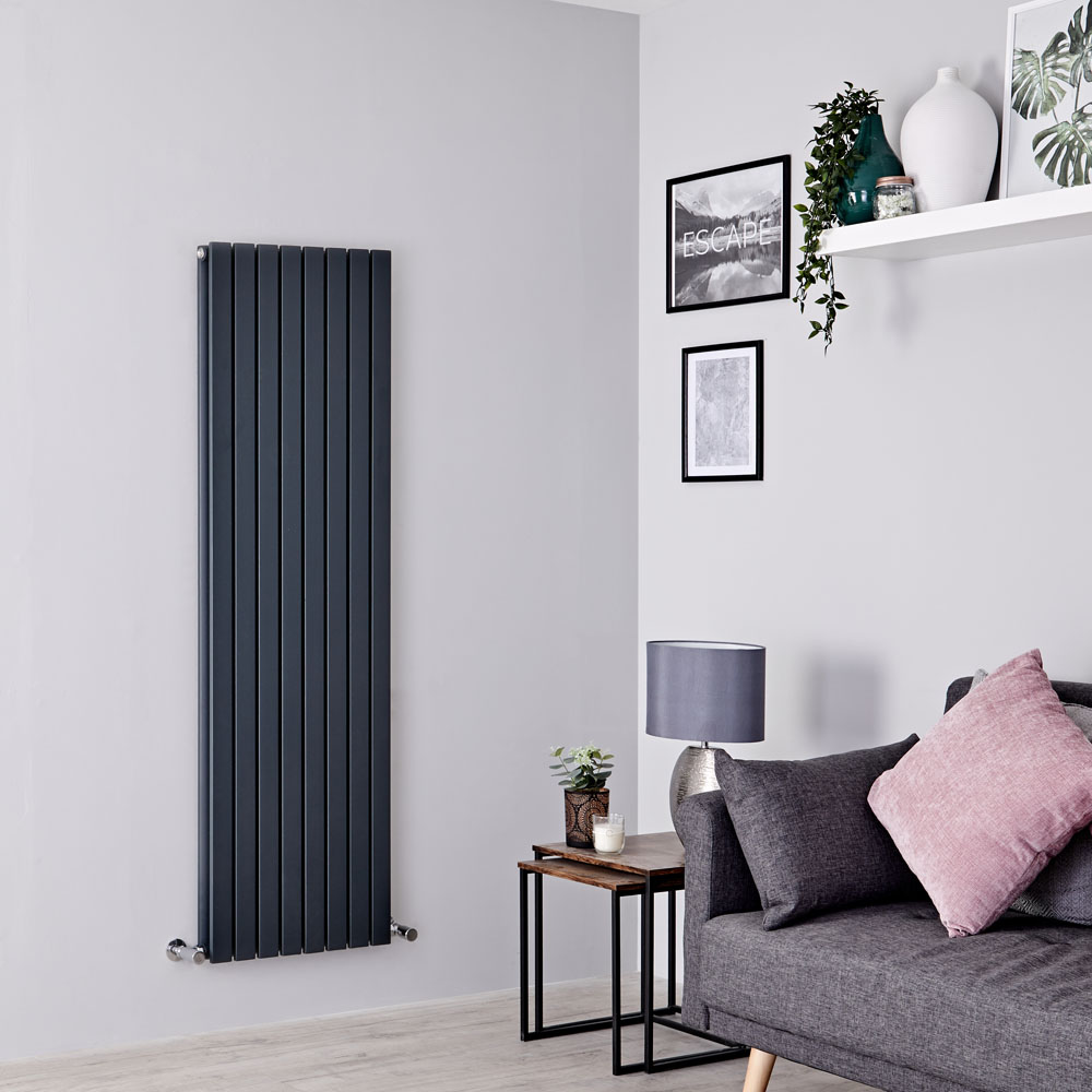 Milano Capri - Anthracite Vertical Flat Panel Double Designer Radiator 1600mm x 472mm