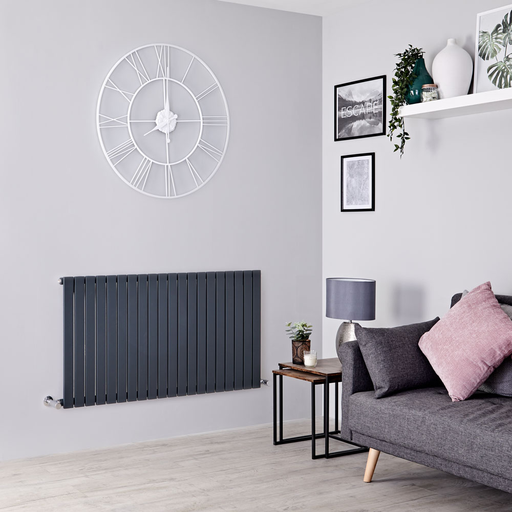 Milano Capri - Anthracite Horizontal Flat Panel Designer Radiator 635mm x 1180mm