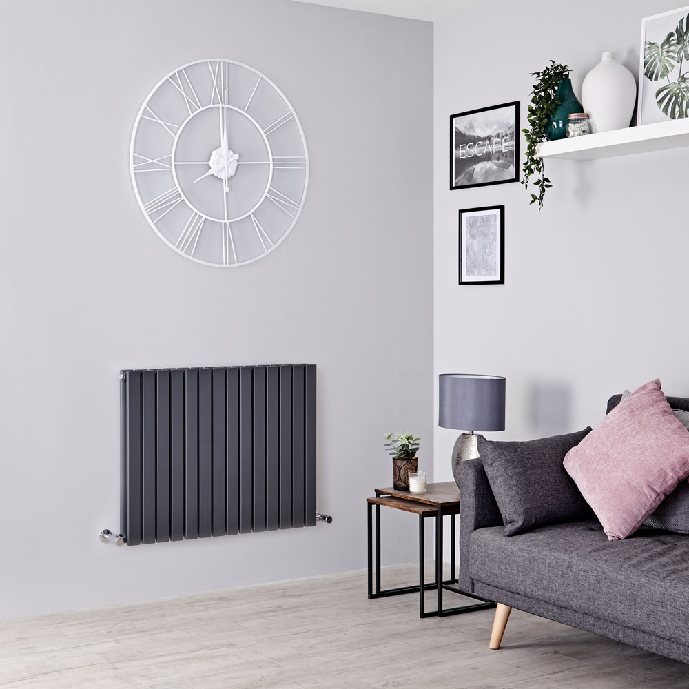 Milano Capri - Anthracite Horizontal Flat Panel Designer Radiator 635mm x 834mm (Double Panel)