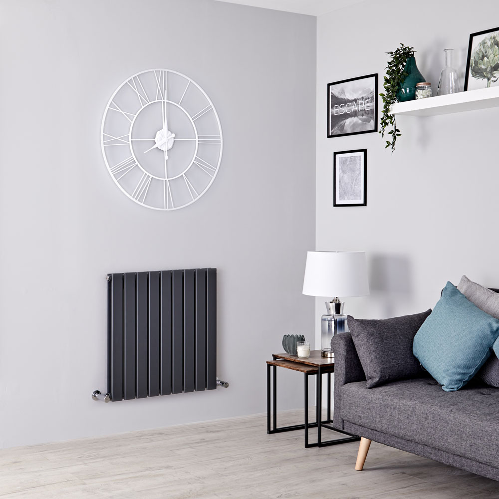 Milano Alpha - Anthracite Horizontal Double Slim Panel Designer Radiator 635mm x 630mm