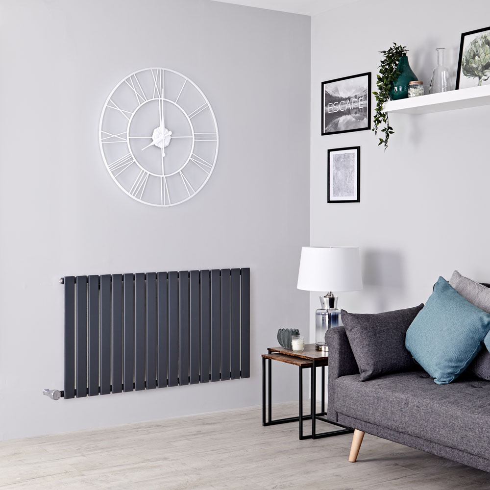 Milano Alpha Electric - Anthracite Horizontal Single Slim Panel Designer Radiator 635mm x 1190mm