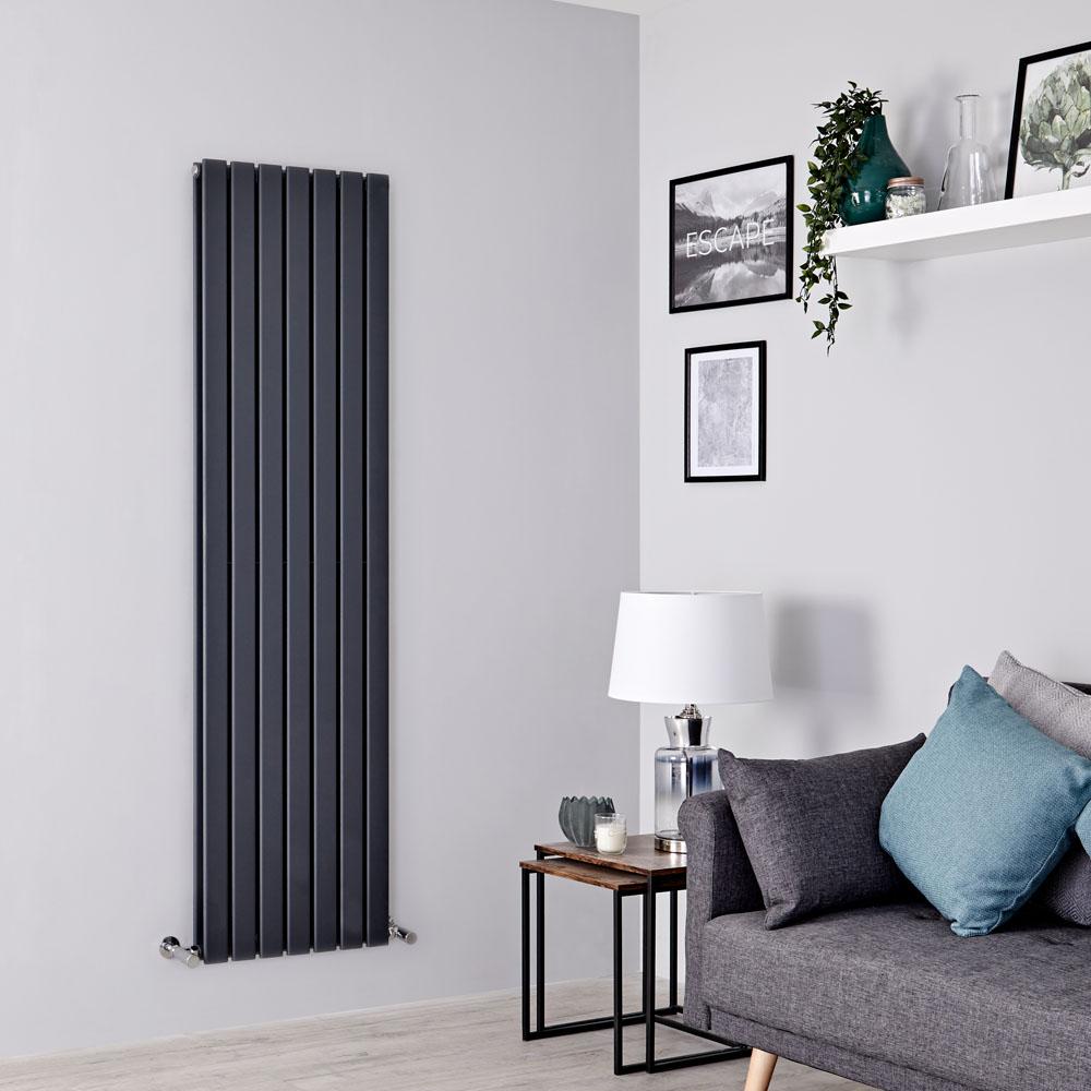 Milano Alpha - Anthracite Vertical Double Slim Panel Designer Radiator 1600mm x 490mm