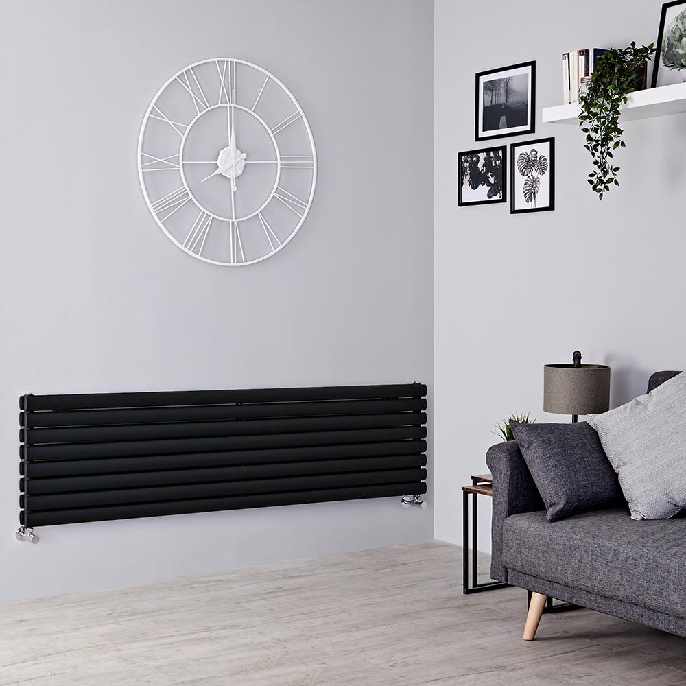 Milano Aruba - Black Horizontal Designer Radiator 472mm x 1600mm (Double Panel)