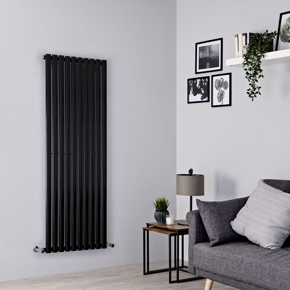 Milano Aruba - Black Vertical Designer Radiator 1600mm x 590mm