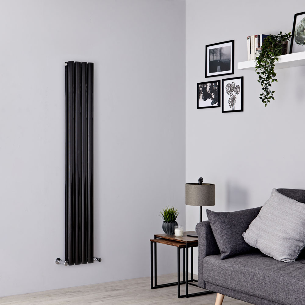Milano Aruba Slim - Black Space-Saving Vertical Designer Radiator 1600mm x 236mm (Double Panel)