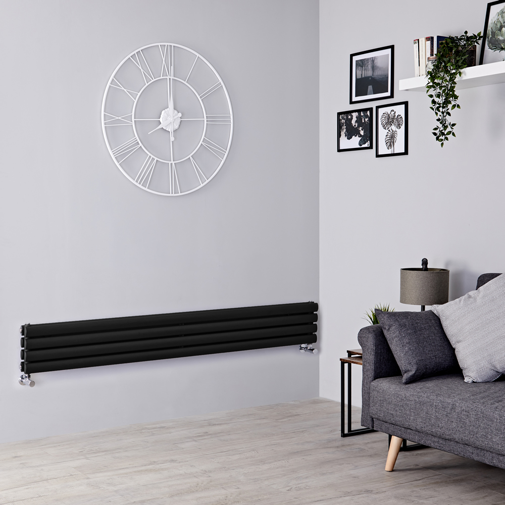 Milano Aruba - Black Horizontal Designer Radiator 236mm x 1600mm (Double Panel)