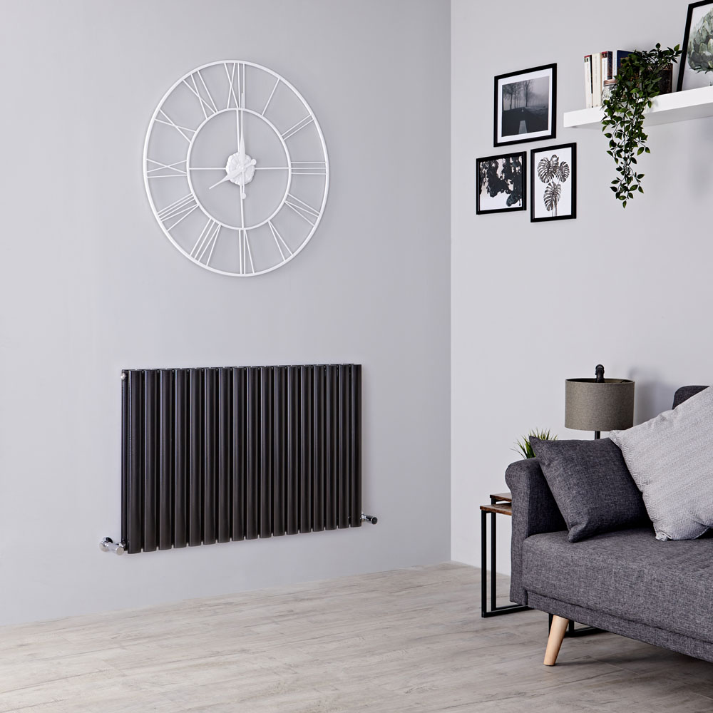 Milano Aruba - Black Horizontal Designer Radiator 635mm x 1000mm (Double Panel)