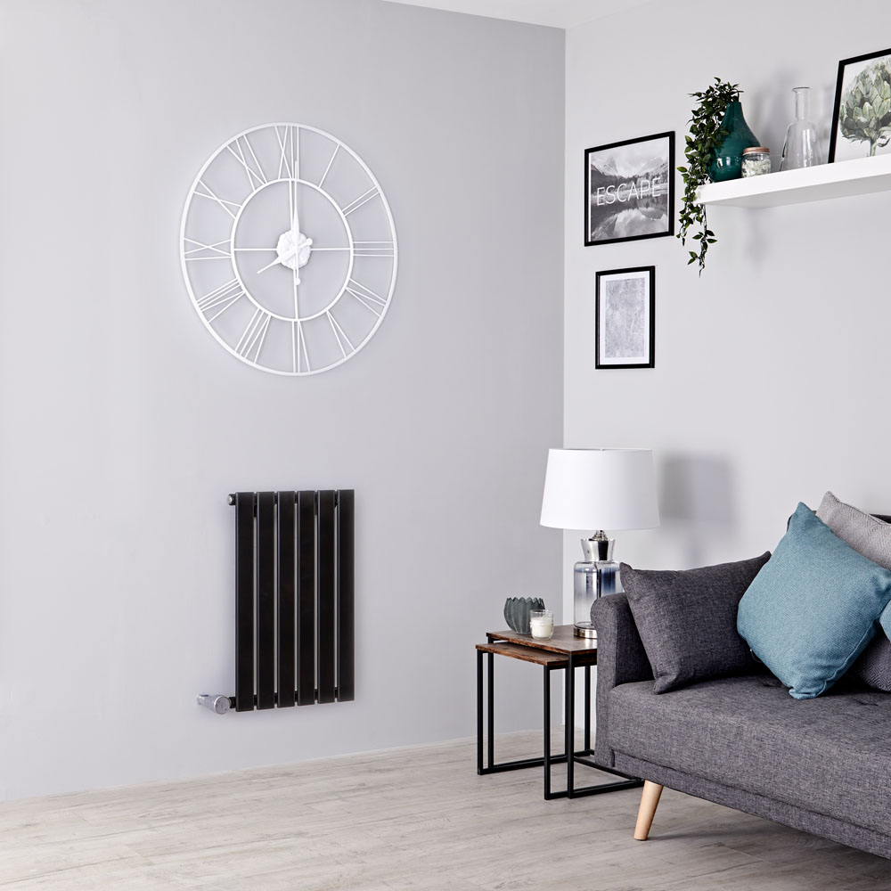 Milano Alpha Electric - Black Horizontal Single Slim Panel Designer Radiator 635mm x 420mm