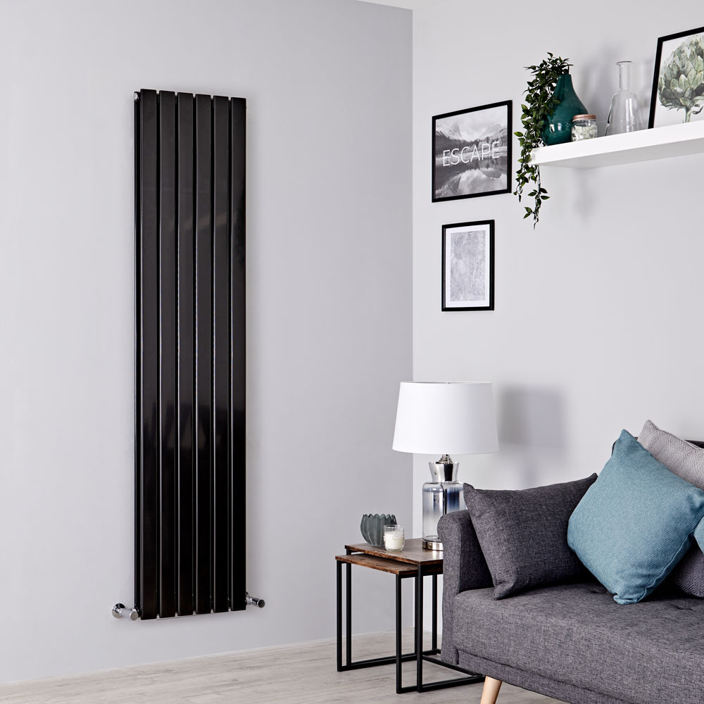 Milano Alpha - Black Vertical Double Designer Radiator 1600mm x 420mm