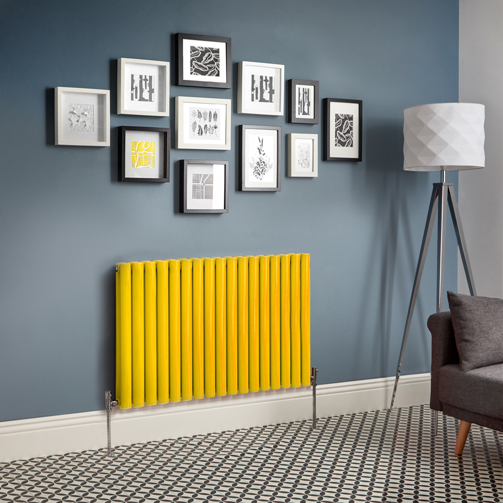 Milano Aruba - Yellow Horizontal Double Panel Designer Radiator - Various Sizes