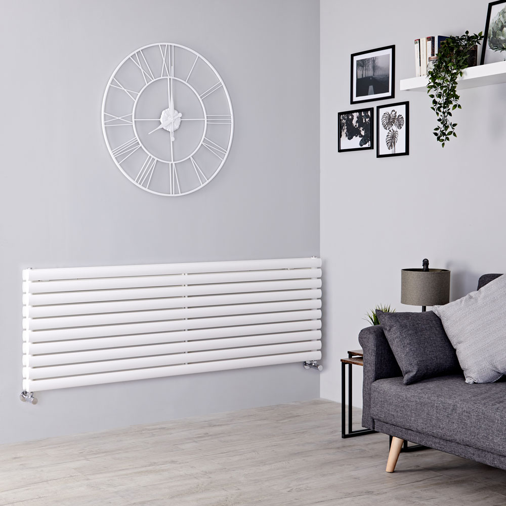 Milano Aruba - White Horizontal Designer Radiator 590mm x 1600mm (Double Panel)
