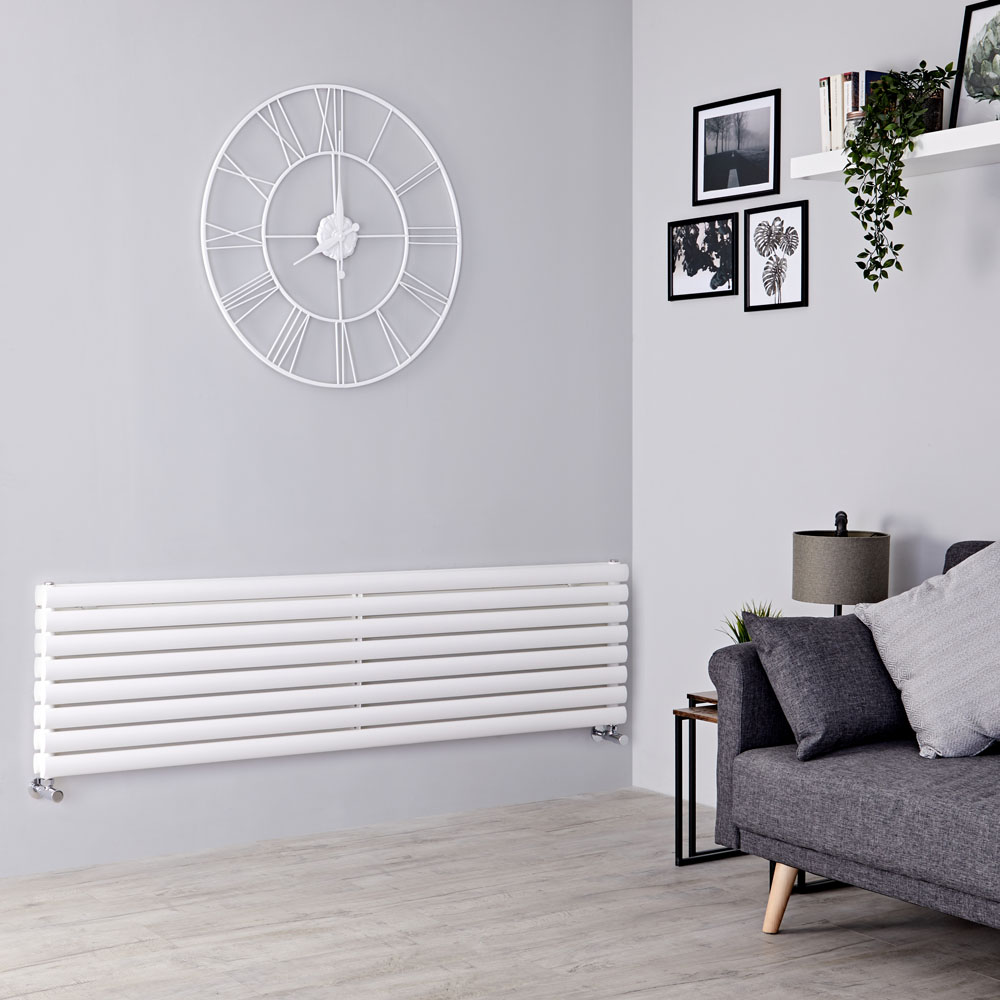 Milano Aruba - White Horizontal Designer Radiator 472mm x 1600mm (Double Panel)