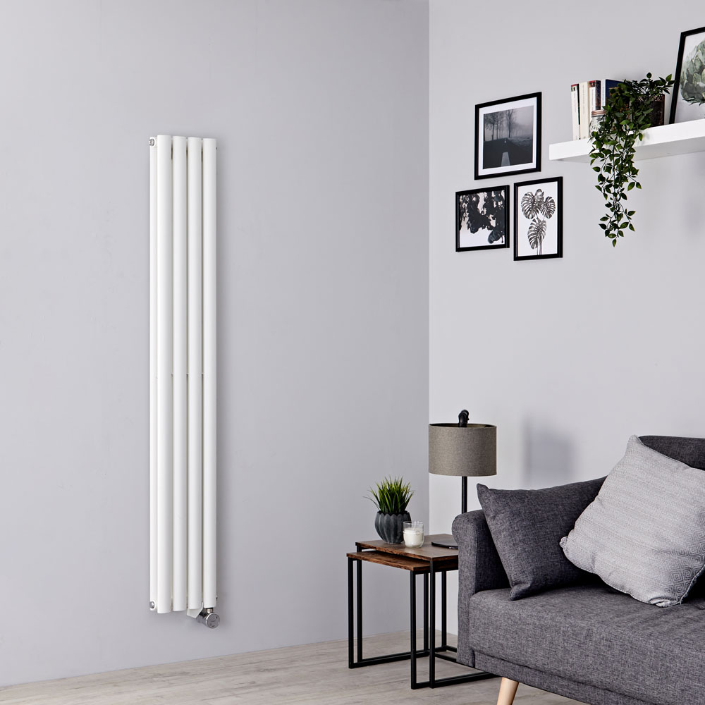 Milano Aruba Slim Electric - White Space-Saving Vertical Designer Radiator 1600mm x 236mm (Double Panel)