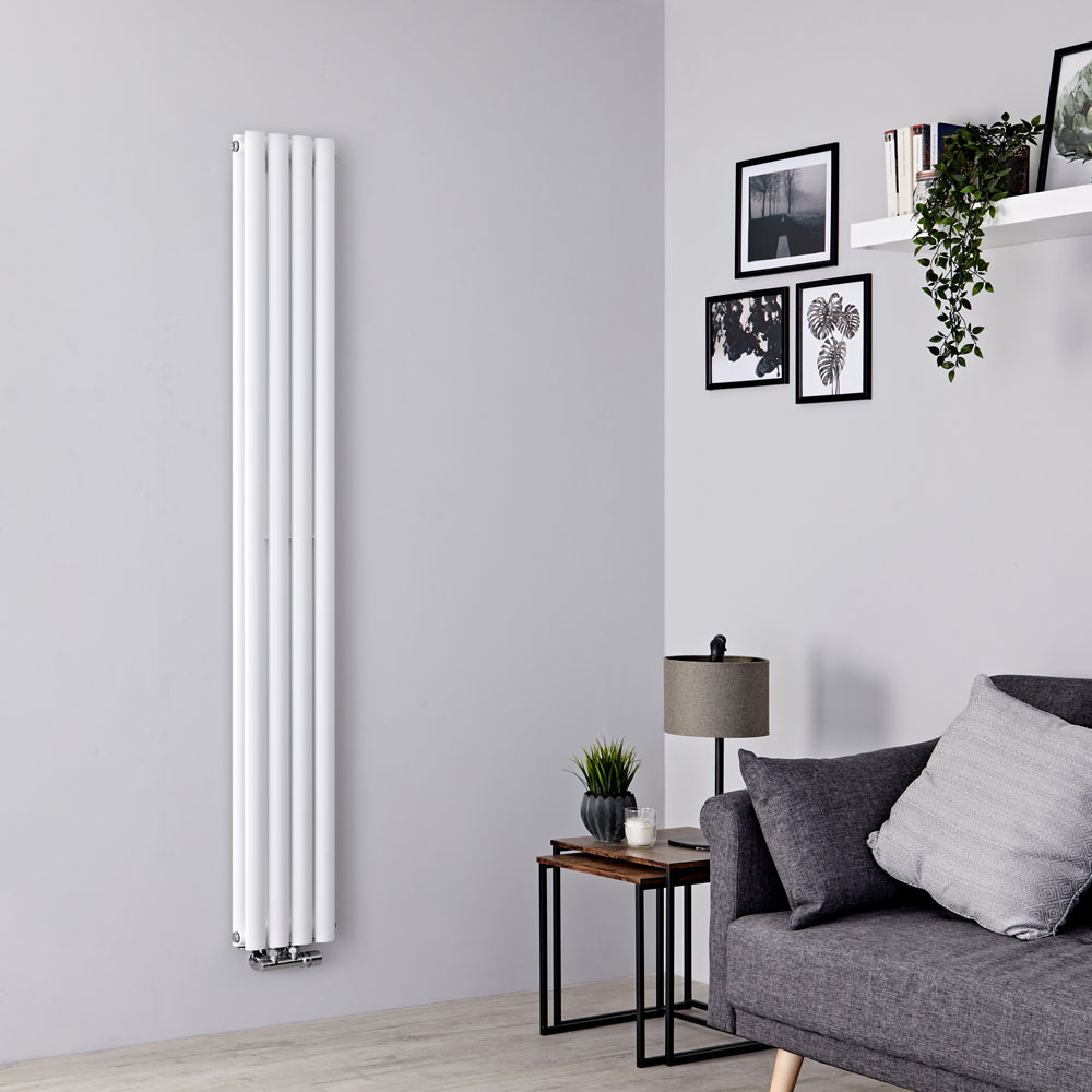 Milano Aruba Flow - White Vertical Double Panel Middle Connection Designer Radiator 1600mm x 236mm