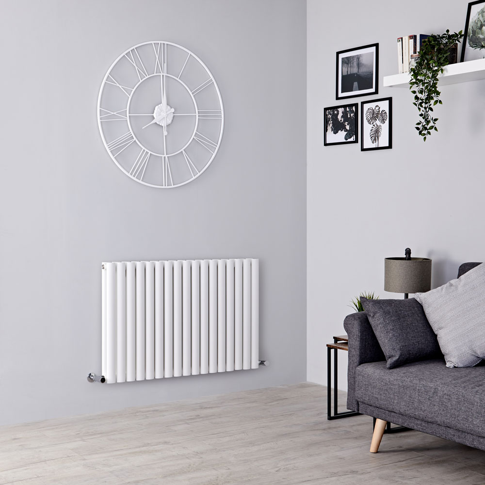 Milano Aruba - White Horizontal Designer Radiator 635mm x 1000mm (Double Panel)