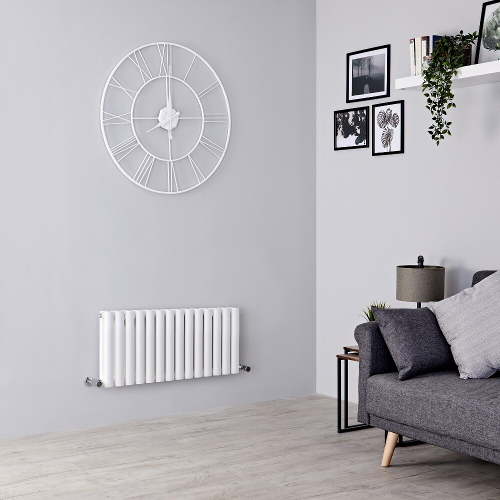 Milano Aruba - White Horizontal Designer Radiator 400mm x 834mm (Double Panel)