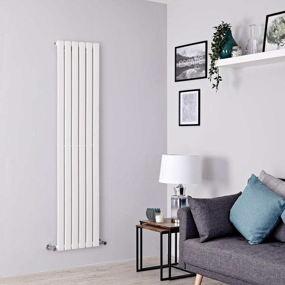 Milano Alpha - White Vertical Single Slim Panel Designer Radiator 1600mm x 420mm