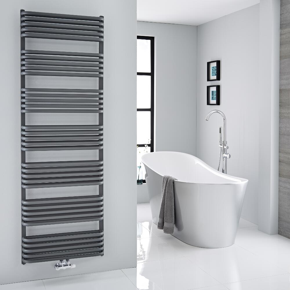 Milano Bow - Anthracite D Bar Central Connection Heated Towel Rail 1800mm x 600mm
