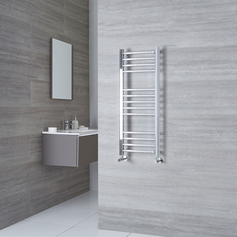 Milano Eco - Curved Chrome Heated Towel Rail 1000mm x 400mm
