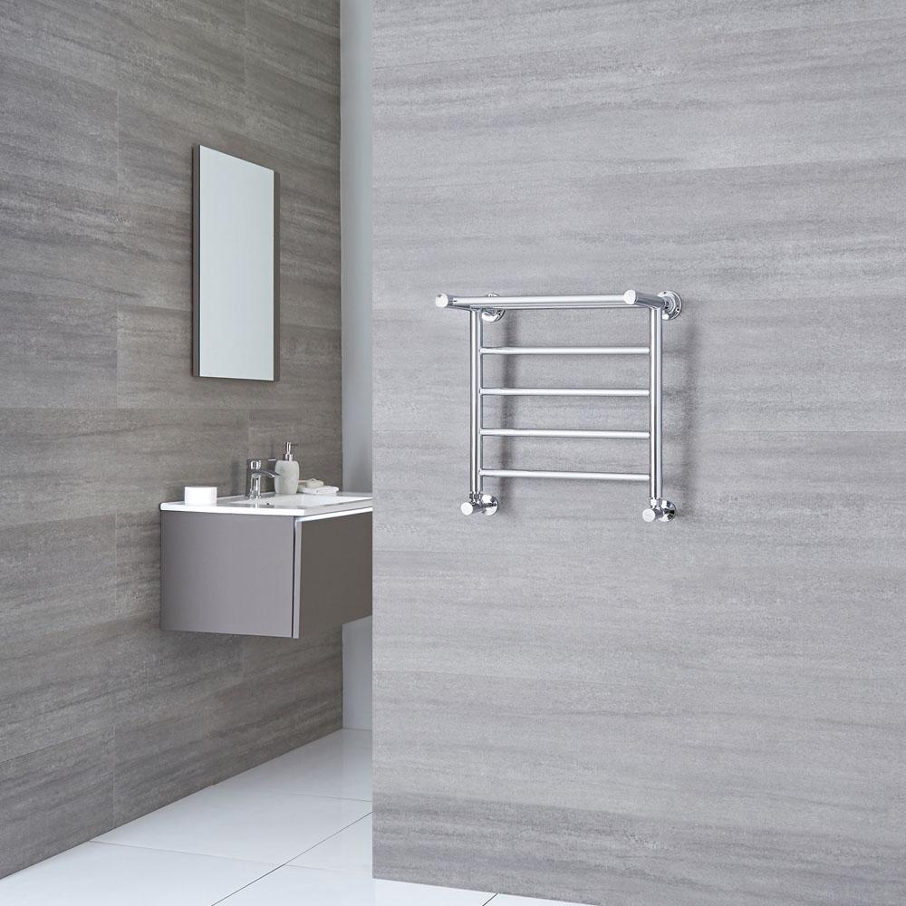 Milano Pendle - Chrome Heated Towel Rail with Heated Shelf 494mm x 532mm